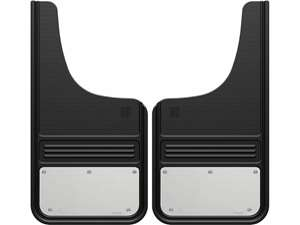 """Picture of Gatorback Mud Flaps Blank Stainless Steel Plate - With Alum Hardware - 12""""x23"""" Cut Style"""
