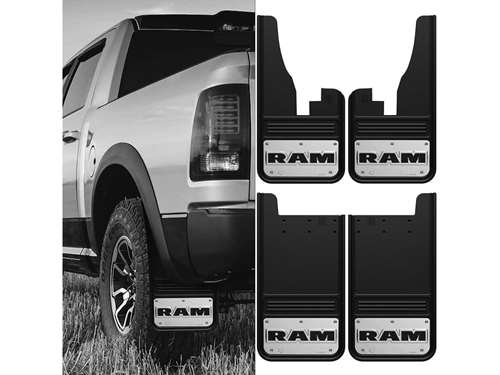 Dodge Ram Text Gatorback Mud Flap Set on Dodge 1500 Truck Seat Covers