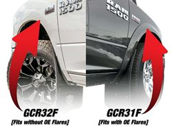 Gatorback RAM Longhorn with Black Wrap Logo No Drill Front Mud Flaps - without OEM fender flares