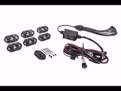 Picture of C-Series RGB LED Rock Light Kit - 6 Light System - Incl. Waterproof Power Wiring And Bluetooth Control Module Box